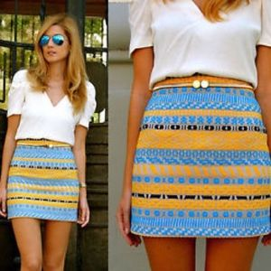 Zara yellow blue tribal jacquard mini skirt XS